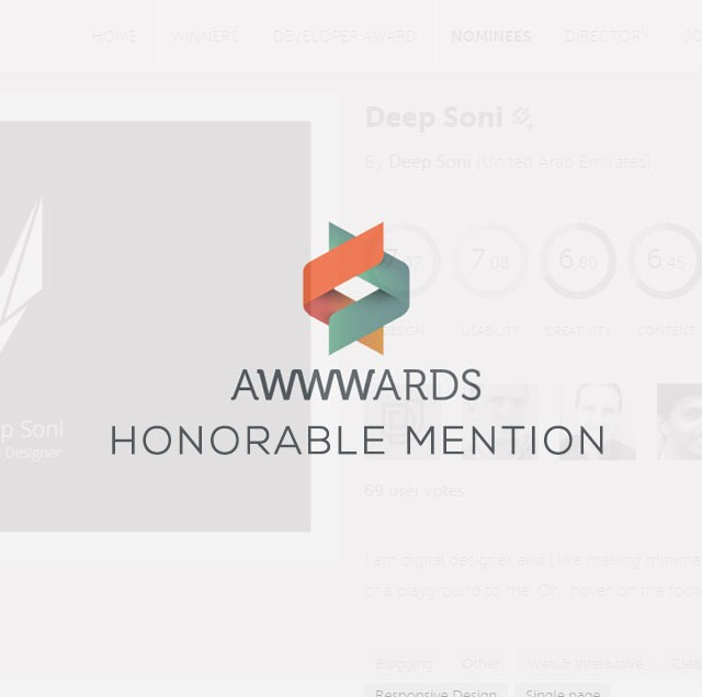DeepSoni.Me gets an Awwwards Honorable Mention